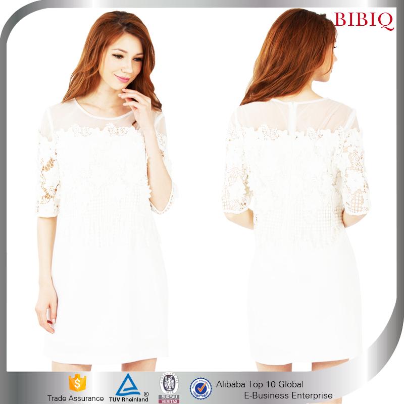 e6df09e714c0 nuovo stile inserti in rete maniche lunghe stretto abito corto bianco. US   6.74. 0 ordini. 2016 New Trendy Elegante Vestito Delle Donne Abbigliamento  OEM ...