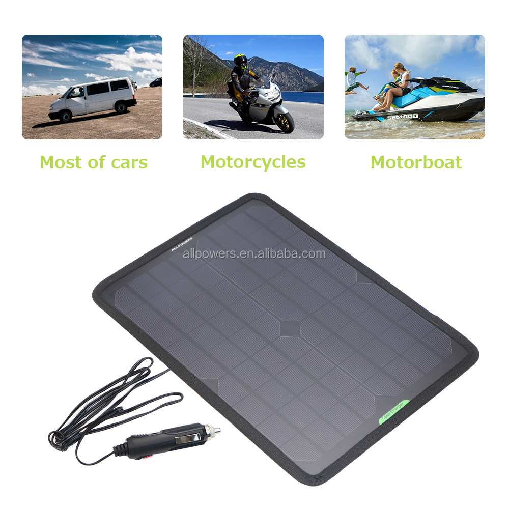 ALLPOWERS 18V 12V 10W Portable Solar Panel Battery Charger Maintainer Bundle with Cigarette Lighter Plug