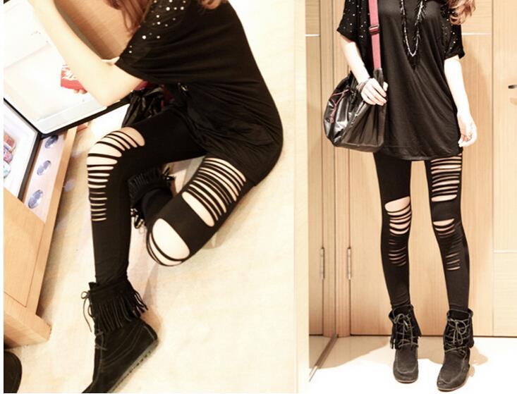 Женщины сексуальный лето стиль рваные разрез панк вырез готический брюки колготки узкие брюки черный