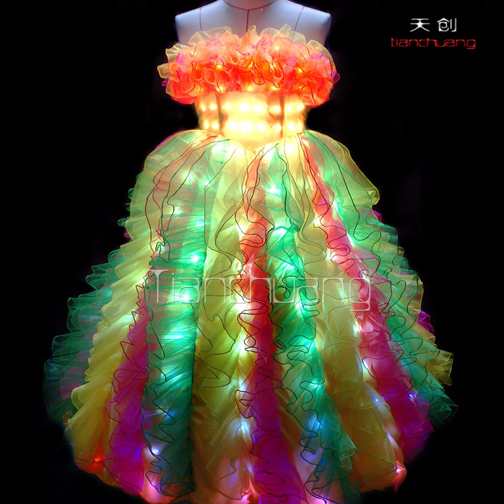Christmas light up party dress stage costumes for singers fiber optic wedding dress