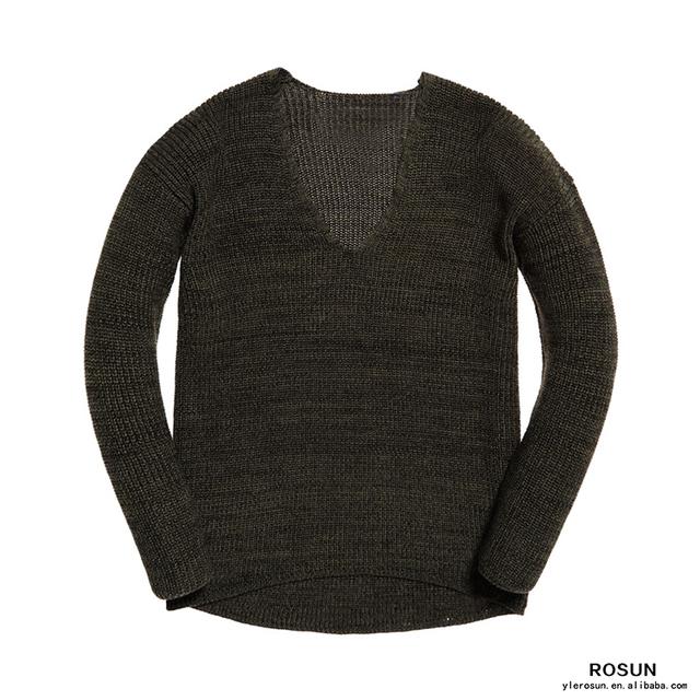 Woman Fashion 7gg Deep V Neck Knitting Fall Sweater For