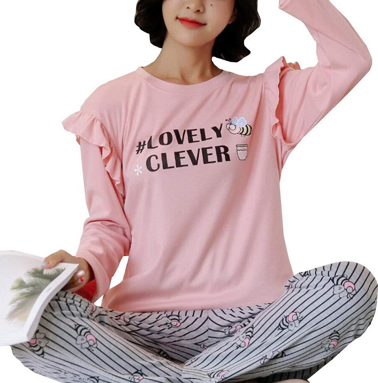 Foucome Women's Cozy Pajama Set Long Sleeve Top Printing Round Neck Bottoms Sleepwear