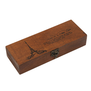 Special Gift Retro Eiffel Tower Wooden Pen Pencil Box