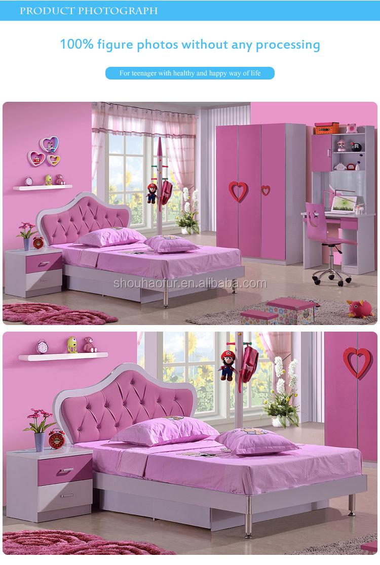 Modernas niñas juego de dormitorio, cama de princesa Rosa 8101B ...