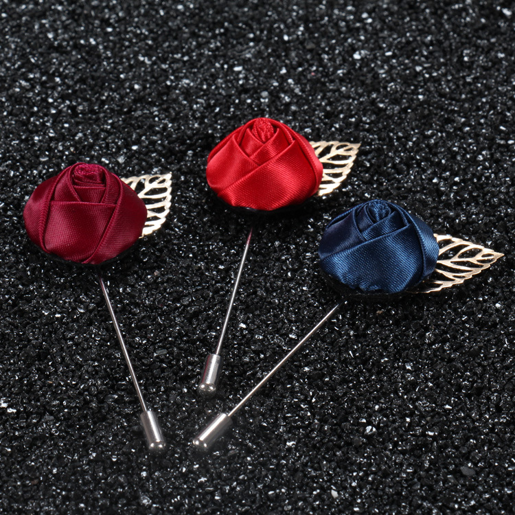 China wholesale brooch custom rose flower brooch pin for mens wedding