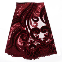 Latest sample hand cut velvet african embroidery lace fabric