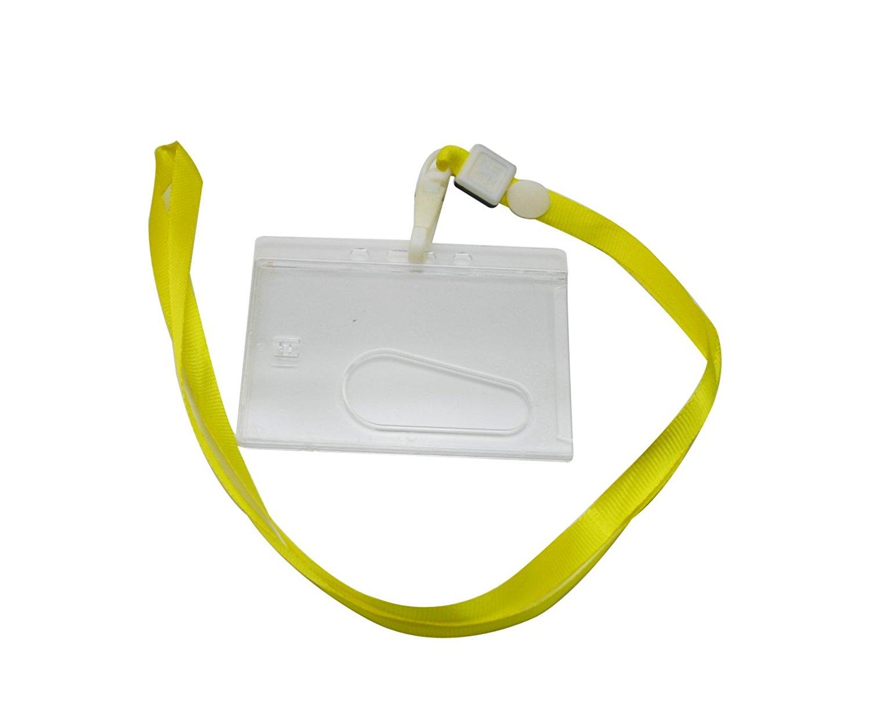 Ailisi Horizontal Card Holder Neck Strap Lanyard Color Deep Blue Clip Pack of 10