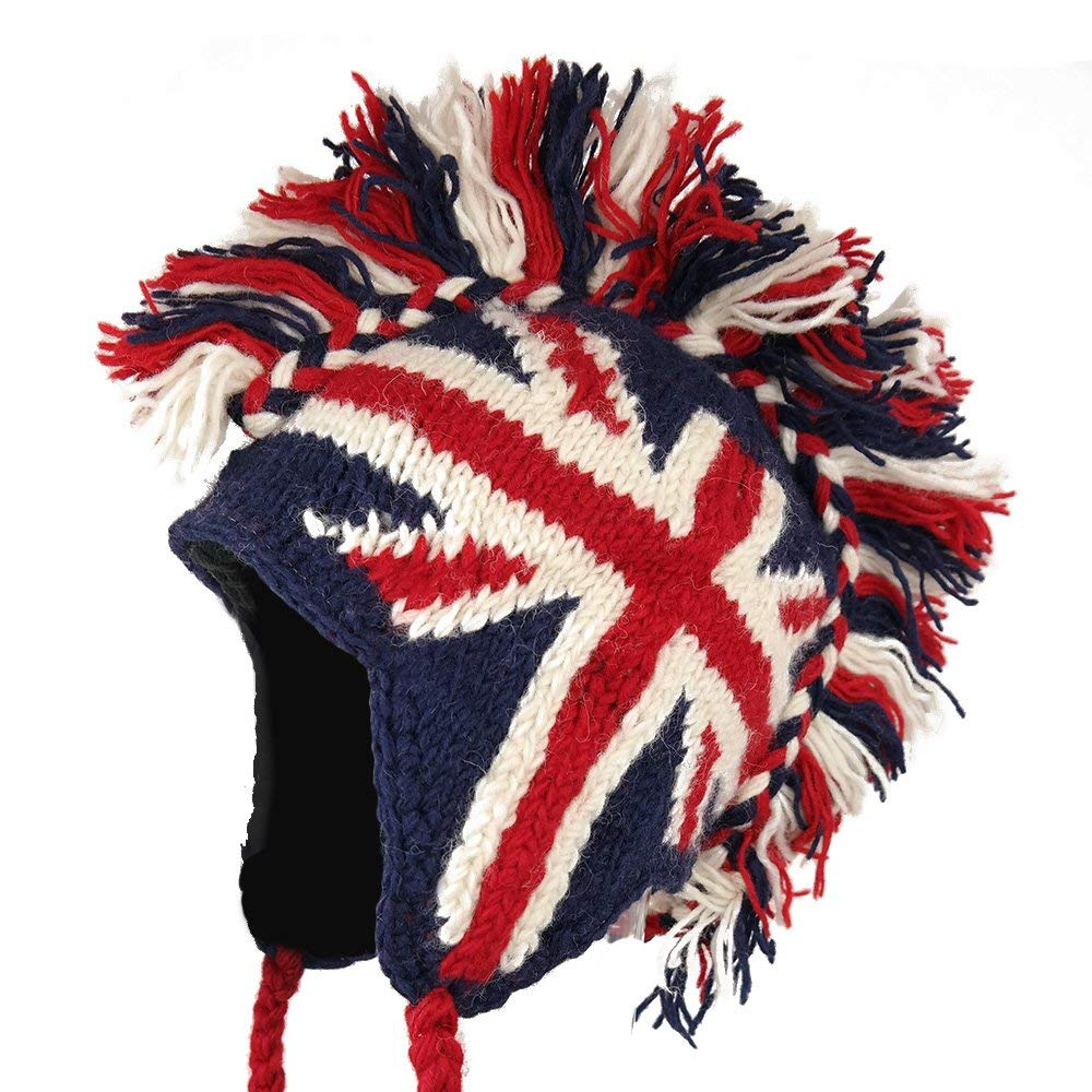051e1f1216b Get Quotations · Fashionable Winter Mohawk-Ski Beanie Hat with Earflaps and  Braided Strings