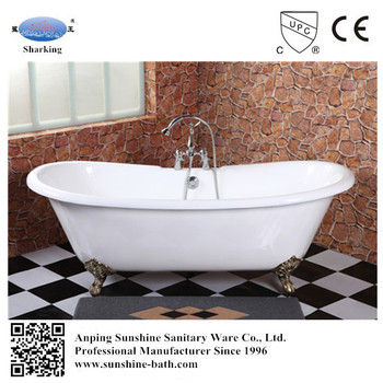 Por Claw Foot Enamel Bathtub Two Person Hot Tub