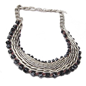 New Chunky Gold Aluminium Chain Colorful Glass Bead Women's Collar Necklace