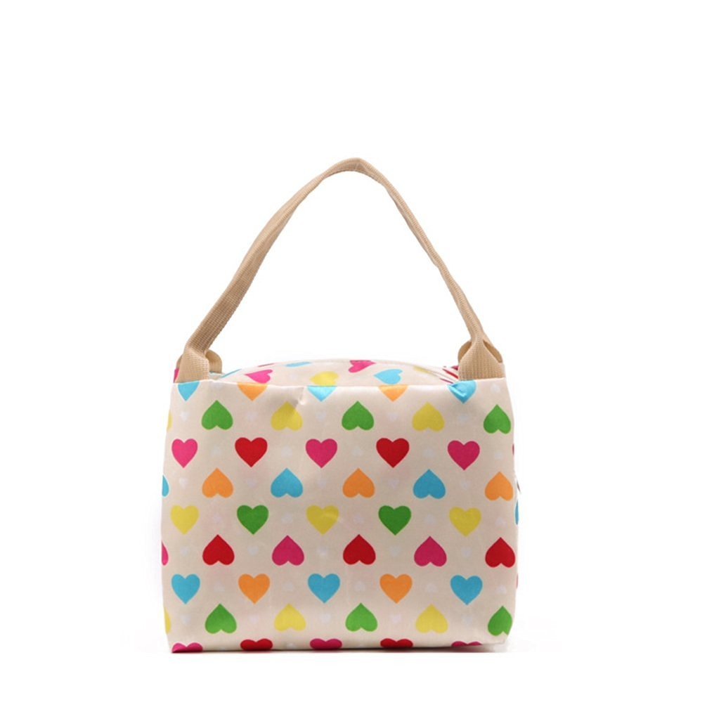 Airstomi New Fashion Tote Lunch Bag Zipper Pockets Women s Lunch Bag  Colorful Heart pattern 92c0b96218