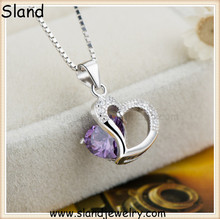 Good at OEM&ODM guangzhou jewelry factory wholesale new products on Europe and USA market 925 silver pendent heart CZ design