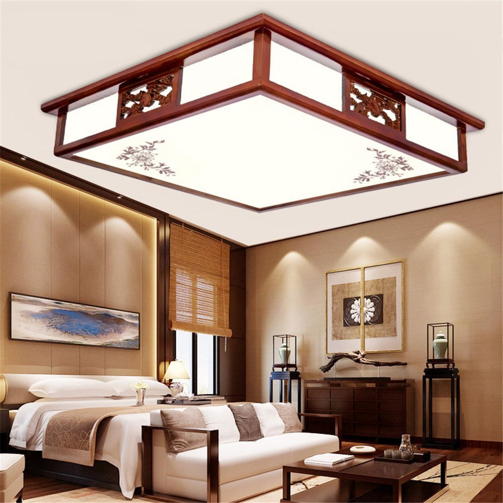 Modern LED Pendant Flush Mount Ceiling Fixtures Light Modern Chinese ceiling lamp rectangular solid wood acrylic sheepskin led new Chinese lamp ceiling lamp, 450mm
