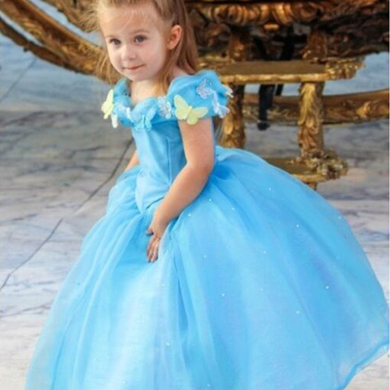 Kids Cosplay Costume Dress Cinderella Elsa Baby Girls: 2015 New Movie Child's Fair Tale Kids Cosplay Costume