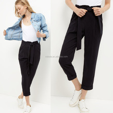 Navy Pinstripe Tie Waist Tapered Trousers Cotton Black High Waist Trousers Ladies Cutting Pants Wholesale Custom
