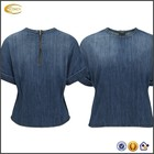 ladies crew neck blue short jeans kurti tops