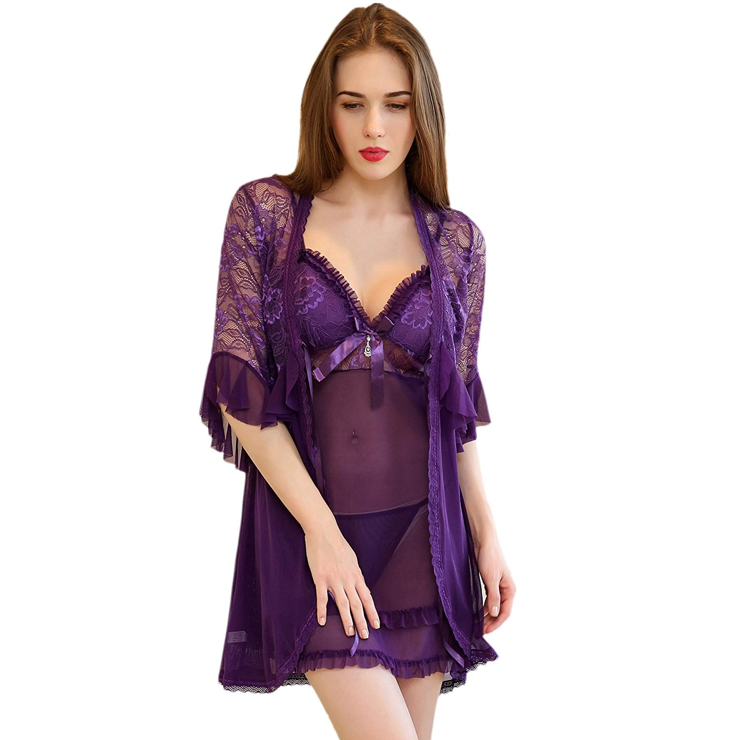 6b6ae855400 Get Quotations · Hstyle Women Bridal Lingerie Robe Lace Nightwear Babydoll  Sets