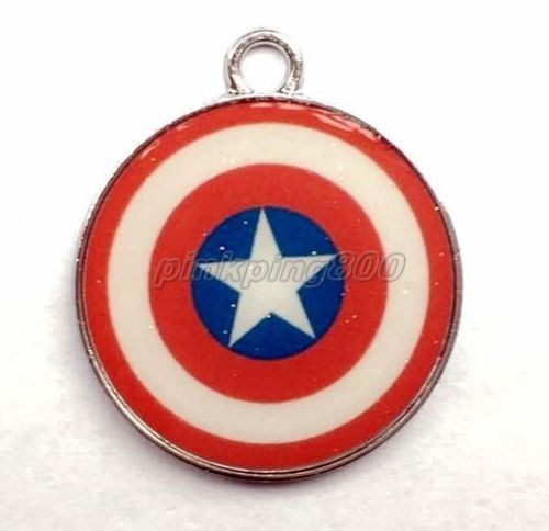 100 Pcs Captain America Round Metal Charms Pendants Jewelry Making Party Gifts H09