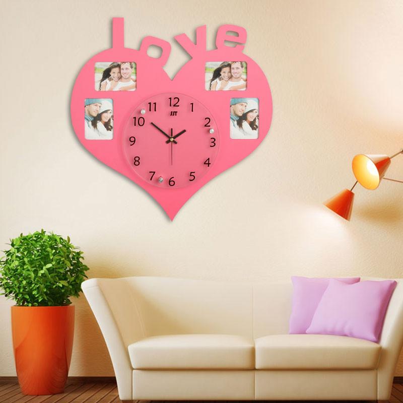 Fashion Heart Shaped Mdf Digital Photo Frame Wall Clock With Love ...