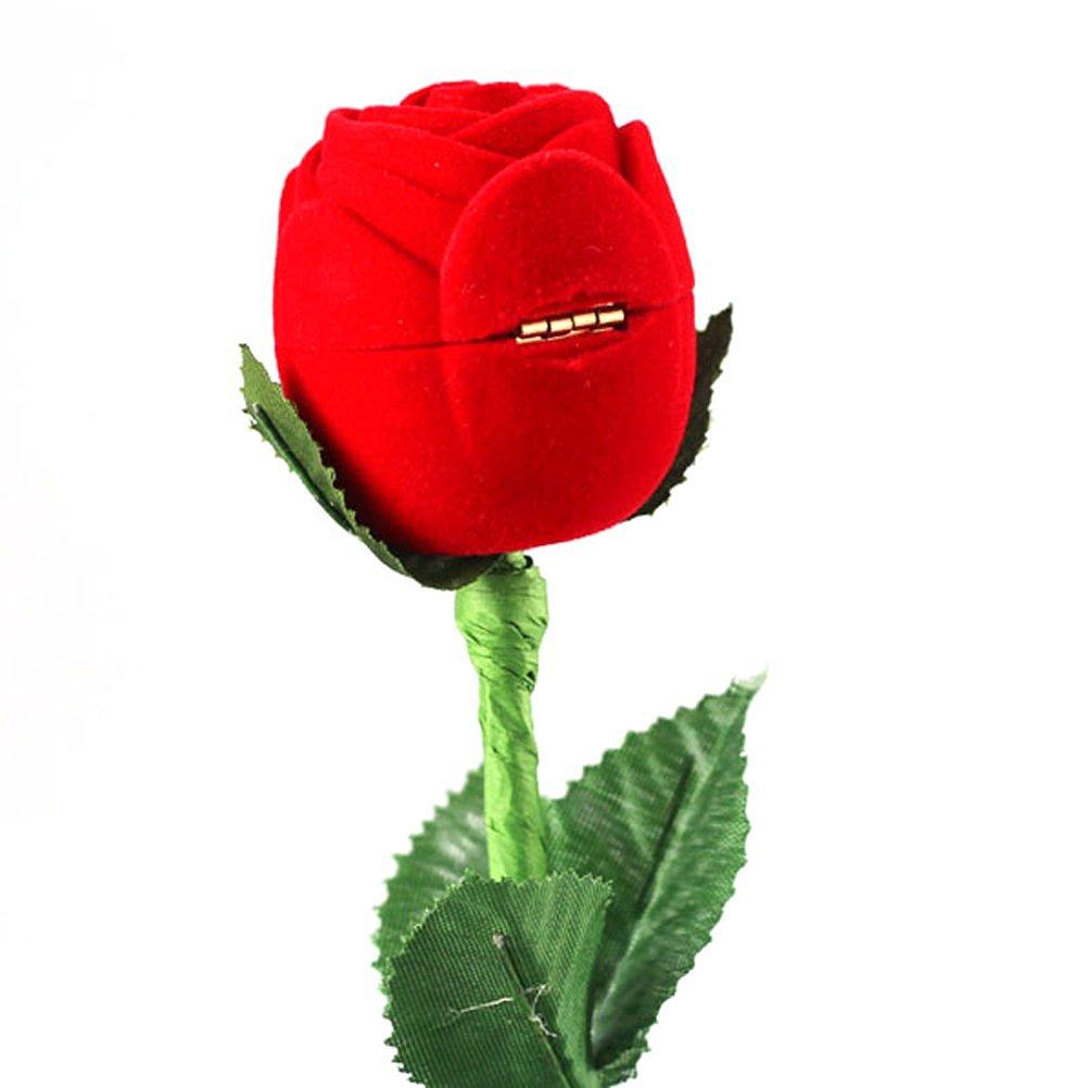 Foxnovo Novelty Romantic Red Rose Flower Shaped Velvet Jewelry Engagement Ring Gift Box Case