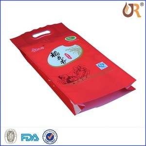 China food rice bag/rice packing of quad seal bag/cotton bag packing rice