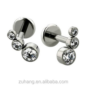 316L Stainless Steel Triple CZ Bubble Disc Tragus Helix Ear Cartilage Piercing Jewelry