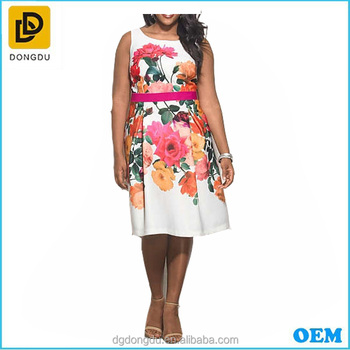 Knee length floral printed plas size sleeveless Indian women casual dress wear
