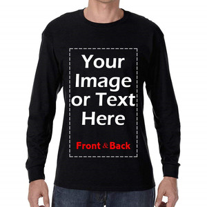 men clothing customized cotton design your own print front and back custom long sleeve men t shirt