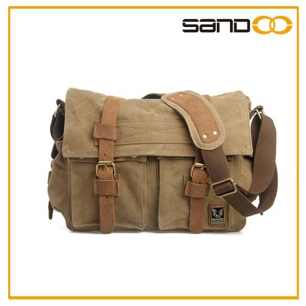Erkek Eski Okul Askeri Omuz çantası Deri Kanvas Postacı çantası
