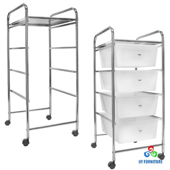 Rolling Home Office Furniture Storage Organizer Carts Plastic Kitchen  Trolley With 4 Drawer