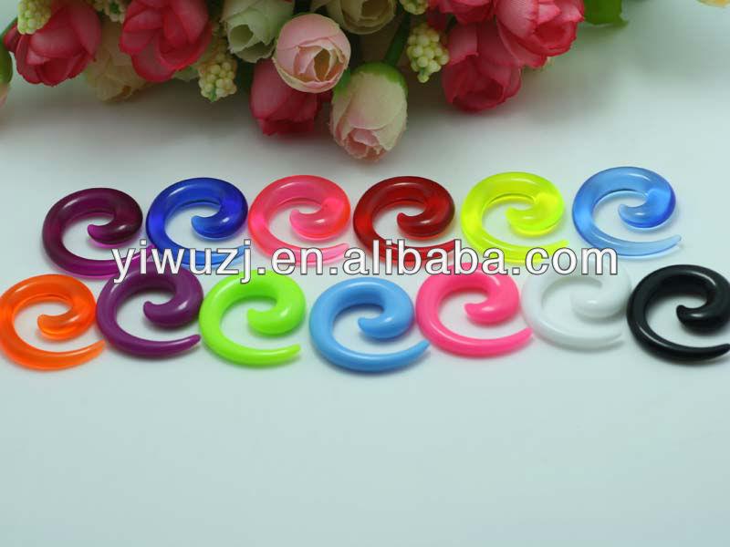 Schuhe Vereinigt Bog-1 Paar Doppel Farbe Mixed Acryl Acryl Spiral Ear Plug Gefälschte Cheater Keil Flesh Ohrringe Piercing Schmuck