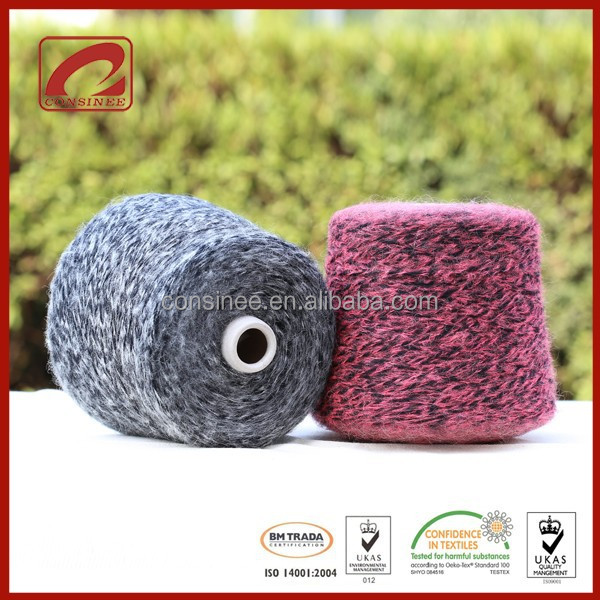 Melange effect yarn knitting both hand knitted and machine knitted wool sweaters