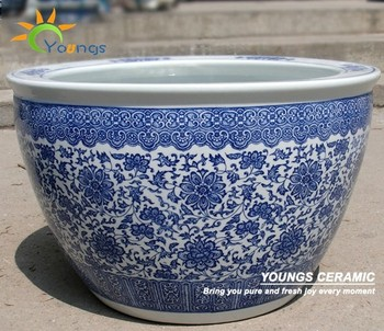 wholesale indoor and outdoor large chinese blue white ceramic planter pots plant - Large Ceramic Planters