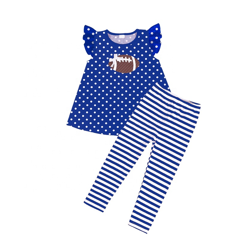 wholesales children girls baby clothing football 2pc set  girls baby clothing