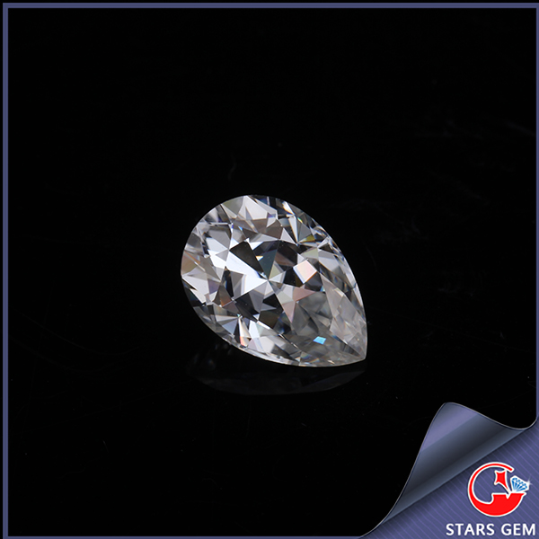forever brilliant pure white color pear shape moissanite for men ring