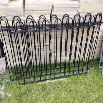 Gentil Victorian Style Antique Black Wrought Iron Fence Metal Garden Grass Fence