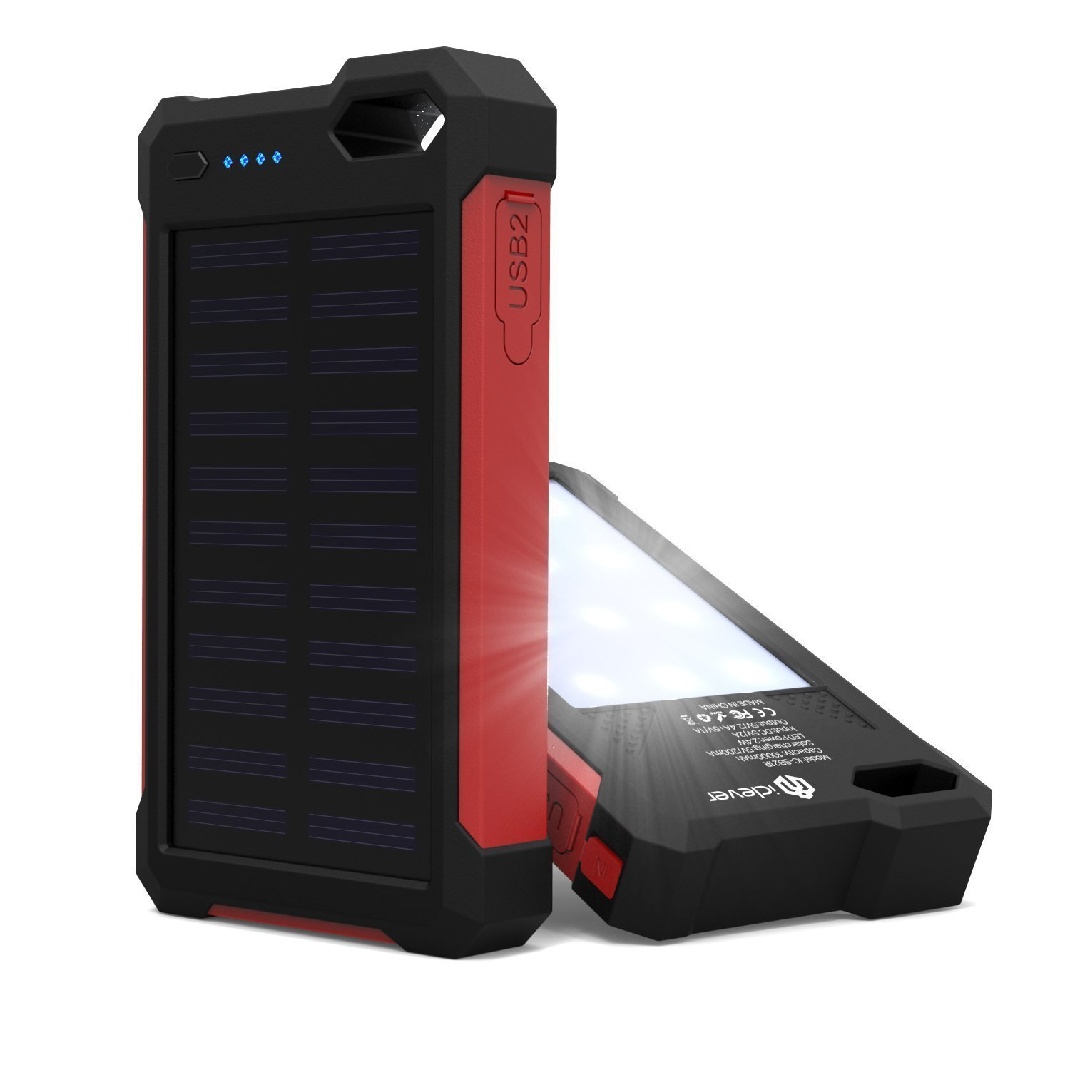 [Solar Battery Charger] iClever 10000mAh Portable Solar Power Bank Dual USB Port Charger Battery with Led Light, IP67 Waterproof Solar Charger for iPhone, iPad, iPod, Samsung, Android phones
