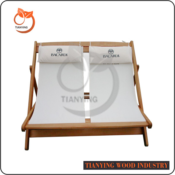 New Arrival Deck Folding Wooden Double Beach Chair Camping Chair