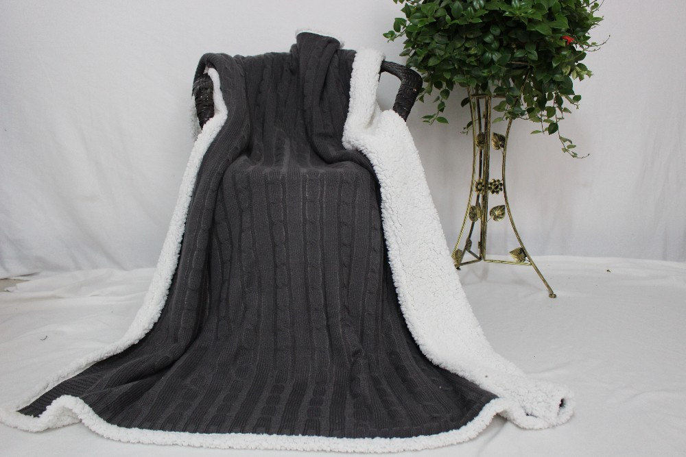Hot Design Thick Plush Acrylic Knitted Throw Blanket On The Sofa ...