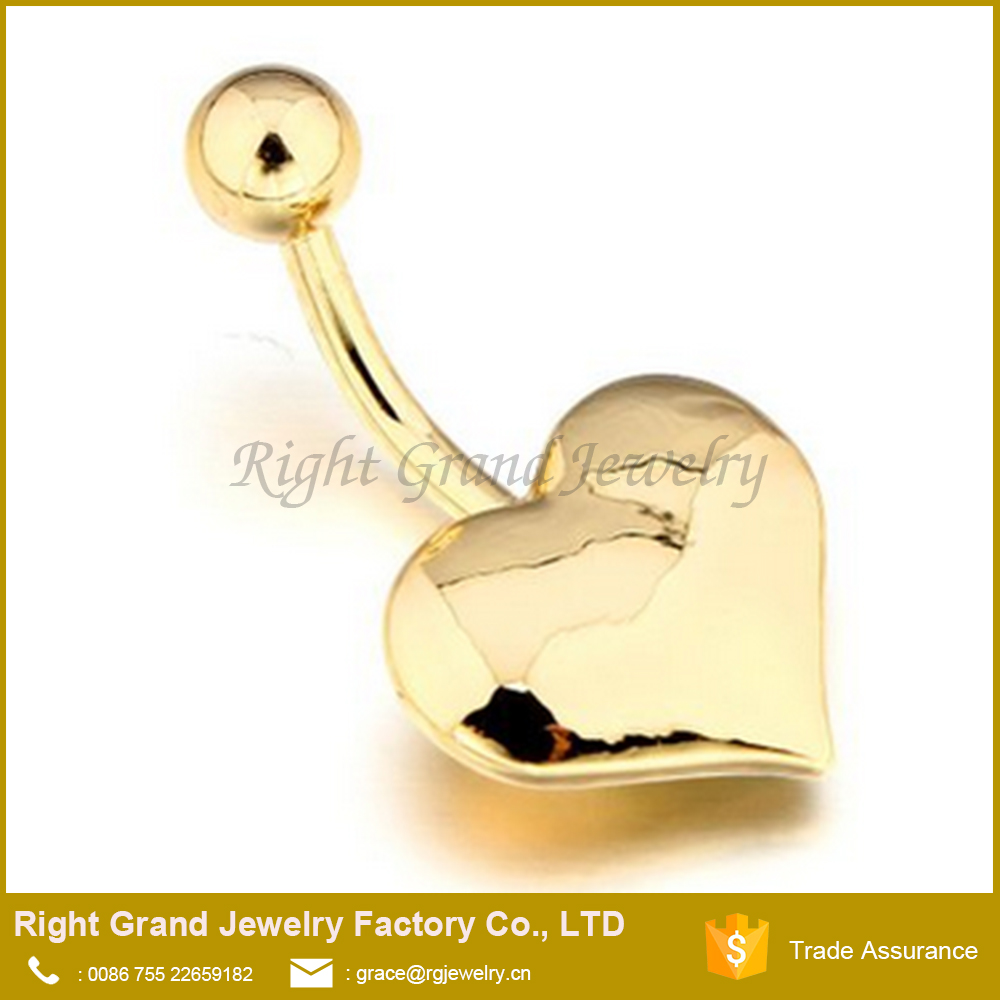 Surgical Steel 14K Titanium Gold Plated Heart Dangle Belly Ring