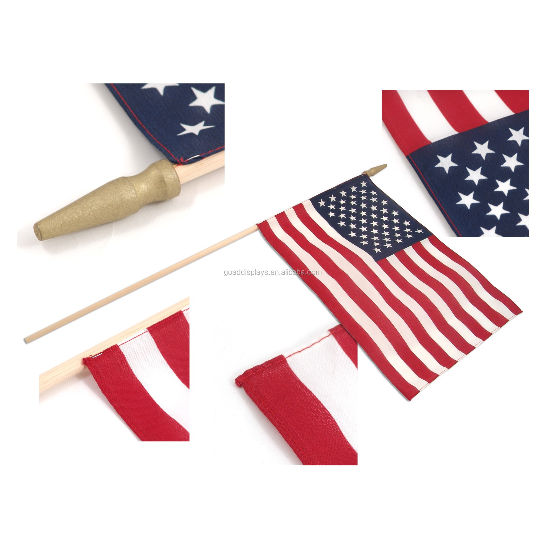 Plastic/Wooden Flag Pole Material Hand Waving Flag For Promotion Gift