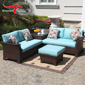 Leisure Patio Rattan Furniture Set Garden Sectional Corner Sofa Set With Footrest