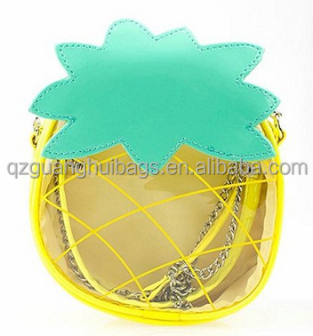 Women's Transparent PVC Clear Crossbody Shoulder Handbag Cute Pineapple