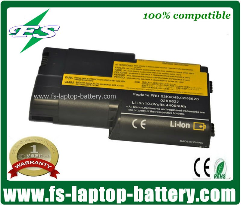 10.8v 4400mAh replacement laptop battery for Lenovo ThinkPad T20 T21 02K7030