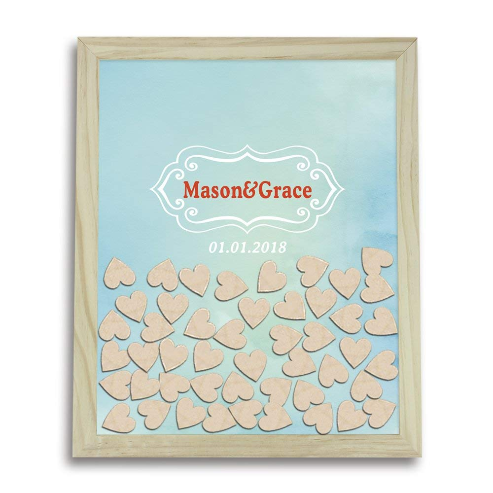 Tamengi Wedding Guest Book Alternative Drop Box, Wedding 3d Guestbook Wooden, Engraved Guest Book Drop Box, Custom 3D Guest Book Hearts, Wedding Favor with 120Pcs Wooden Hearts