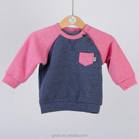 Fashion baby girls contrast color raglan sweater