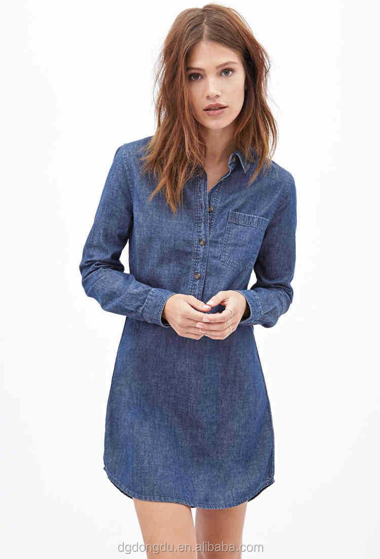 237f27a4fd 100% cotton long sleeve chambray dress shirt denim dress shirt with front  pocket front