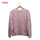 Hot Sale Pink Women Knitted Loose Sweater Pullover For Autumn