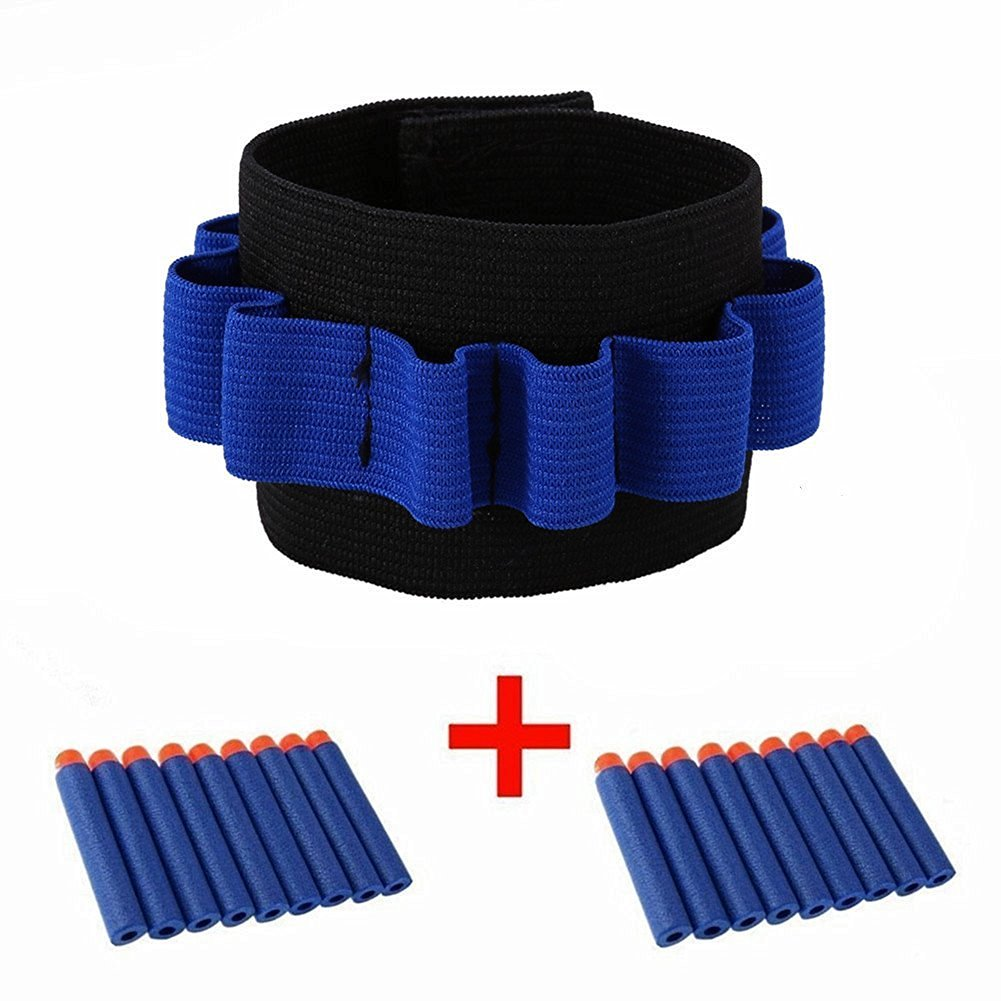 Kids Elite Tactical 100pcs 7.2cm Blue Refill Soft Foam Bullet Darts + 2pcs Wrister Wrist band for Nerf N-strike Elite Series Blasters Toy Gun