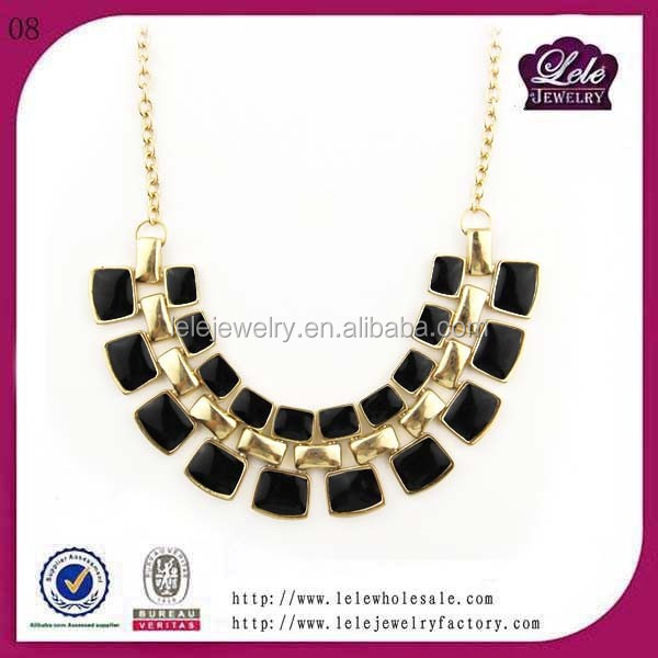 Best sell Aliexpress new & hot trend jewelry epoxy stainless steel chunky necklace with plated gold